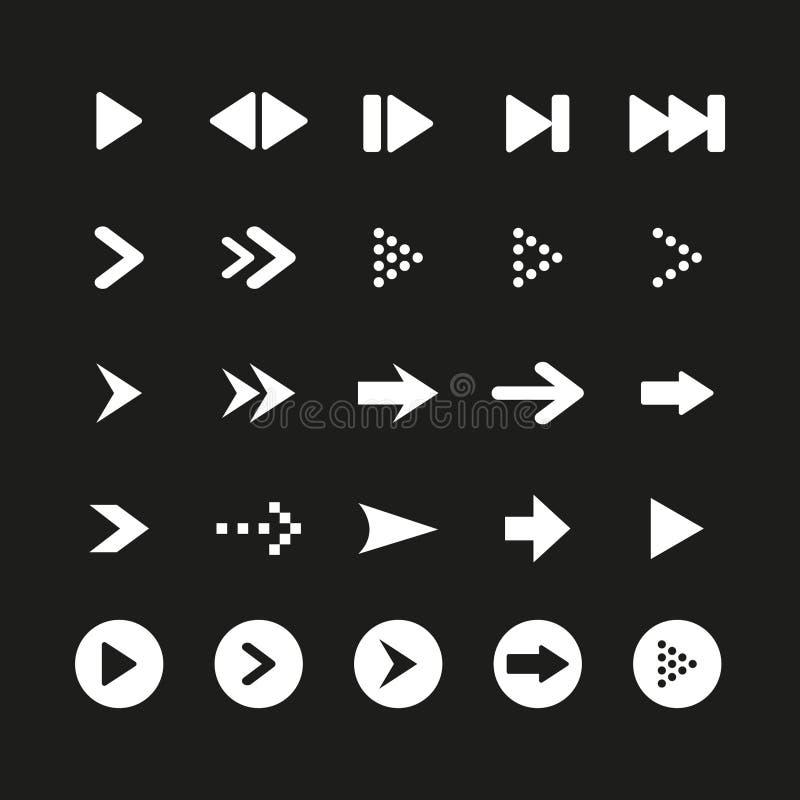 Un ensemble de signe et de symbole blancs de flèche sur le fond noir Illustration de vecteur photo libre de droits