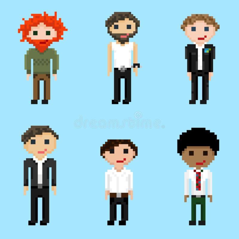 Un ensemble de six images de mâles de pixel illustration de vecteur