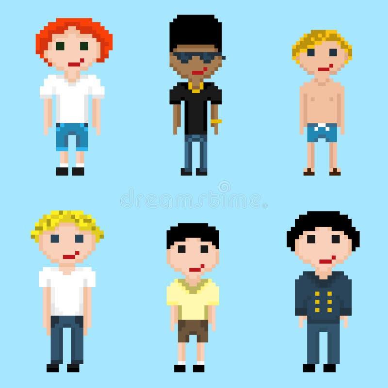 Un ensemble de six images de mâles de pixel illustration libre de droits