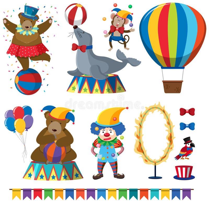 Un ensemble de spectacle d'animaux de cirque illustration de vecteur