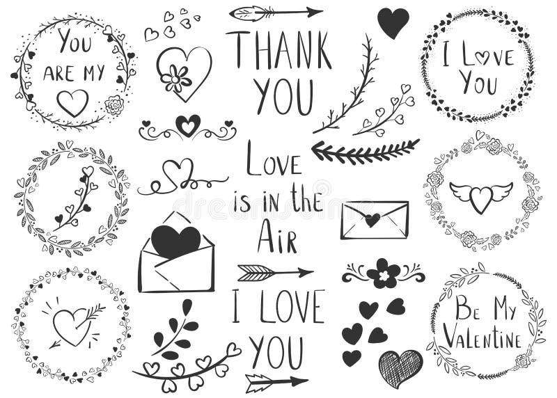 Un ensemble de symboles et d'expressions romantiques pour la Saint-Valentin illustration stock