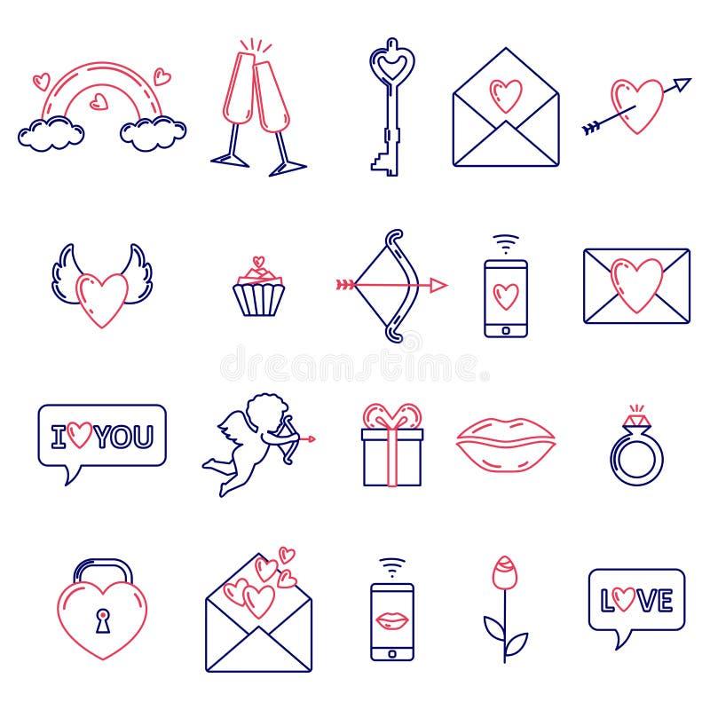 Un ensemble de symboles simples pour la Saint-Valentin illustration de vecteur