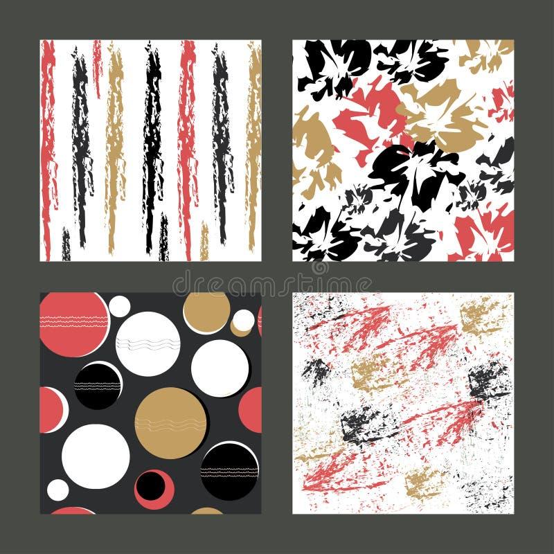Un ensemble de textures et de modèles colorés avec les éléments expressifs, exotiques et abstraits Pour des cartes postales, invi illustration libre de droits