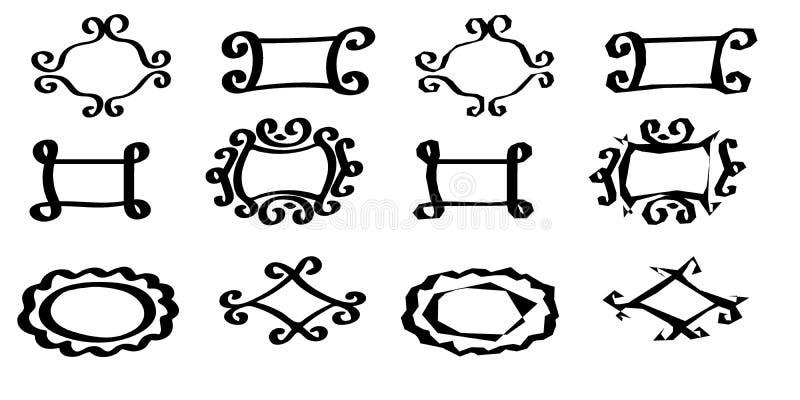 Un ensemble de trames Cadres tirés de glands divers avec des enjolivures illustration stock