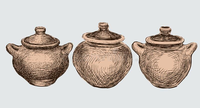 Un ensemble de trois pots d'argile illustration de vecteur