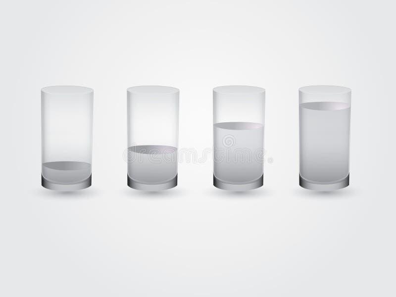 Un ensemble de verres a rempli différents niveaux de avec de l'eau illustration libre de droits
