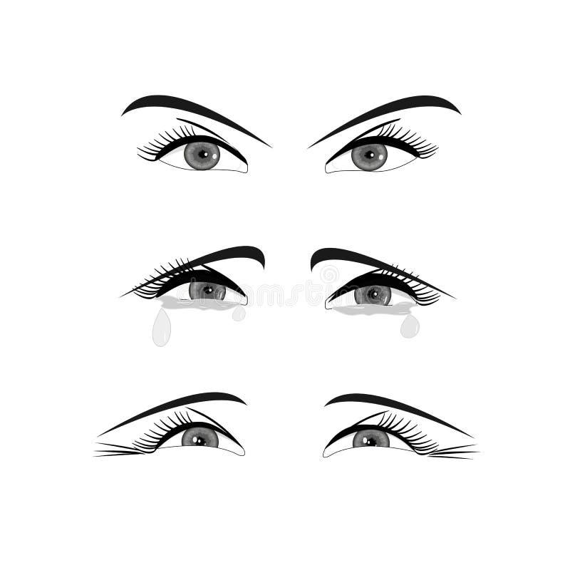 Un ensemble de yeux femelles, regardent directement sans émotion, cri avec des larmes et rire illustration libre de droits