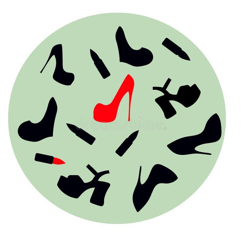 un ensemble des chaussures des femmes et du stylet rouge lumineux de chaussures illustration stock