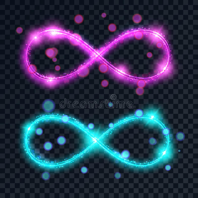 Un ensemble des symboles brillants d'infini illustration de vecteur