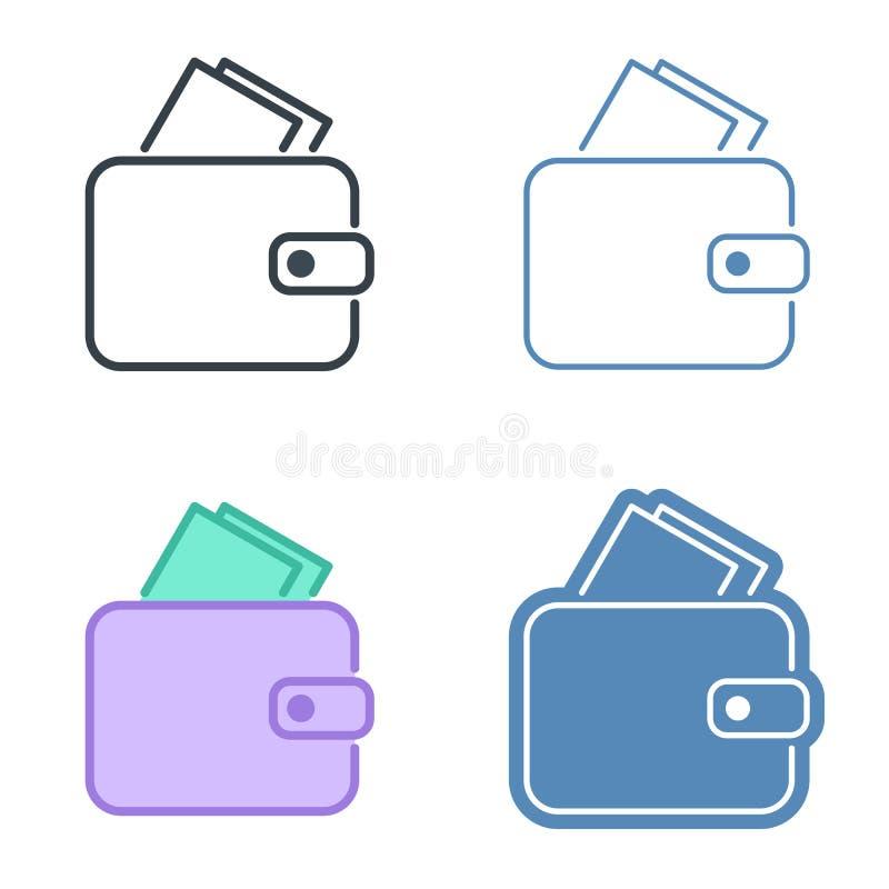Un ensemble en cuir d'icône d'ensemble de vecteur de portefeuille illustration libre de droits