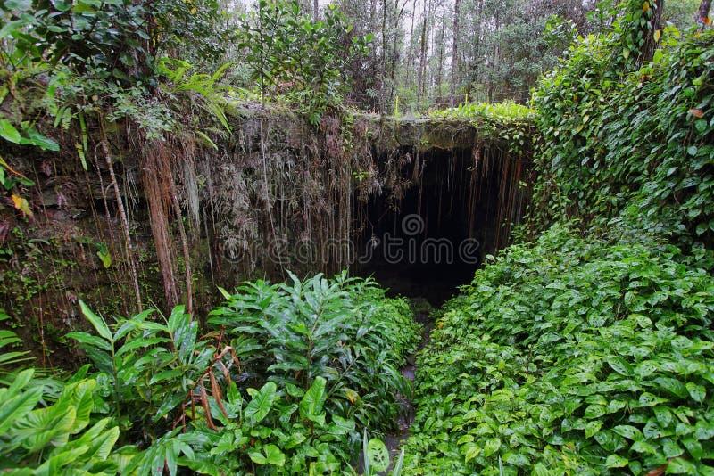 Un'entrata di uno di due Kaumana frana la grande isola fotografie stock