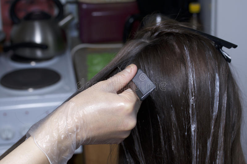 Un entrepreneur individuel fournit des services à la maison Le coiffeur peint les cheveux d'une femme image stock
