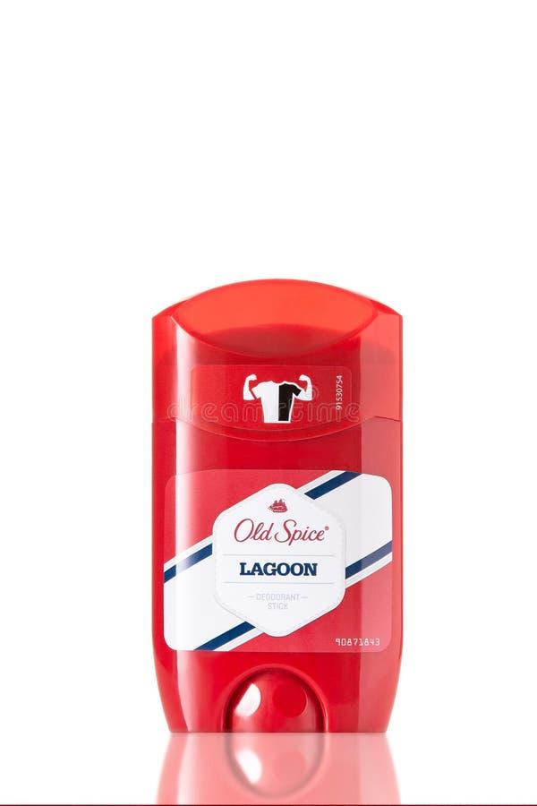 Un envase de palillo de desodorante viejo de la especia La especia vieja es distribuida por el procurador And Gamble de Cincinnat foto de archivo