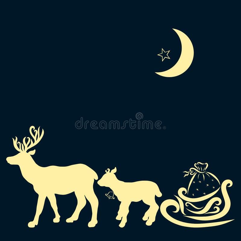 Un equipo de ciervos y de trineo con los regalos, la luna y una estrella en el s libre illustration