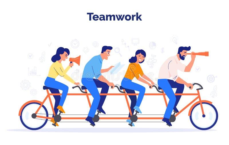 Un equipo de cuatro hombres de negocios que montan una bici Los socios trabajan juntos para alcanzar objetivos comunes Concepto d stock de ilustración