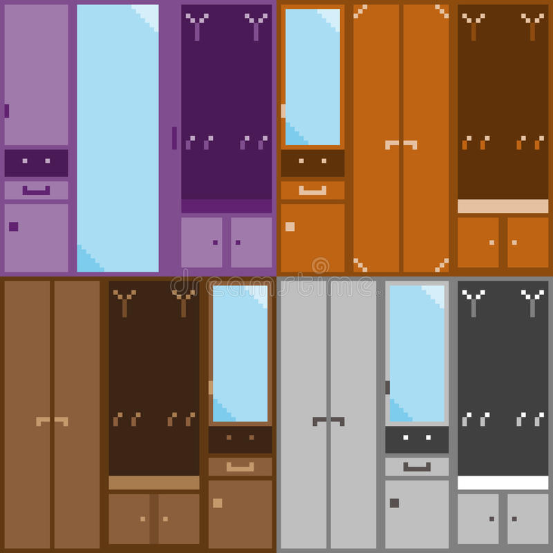 Un equipo de cuatro sistemas de los muebles modulares para el vestíbulo libre illustration