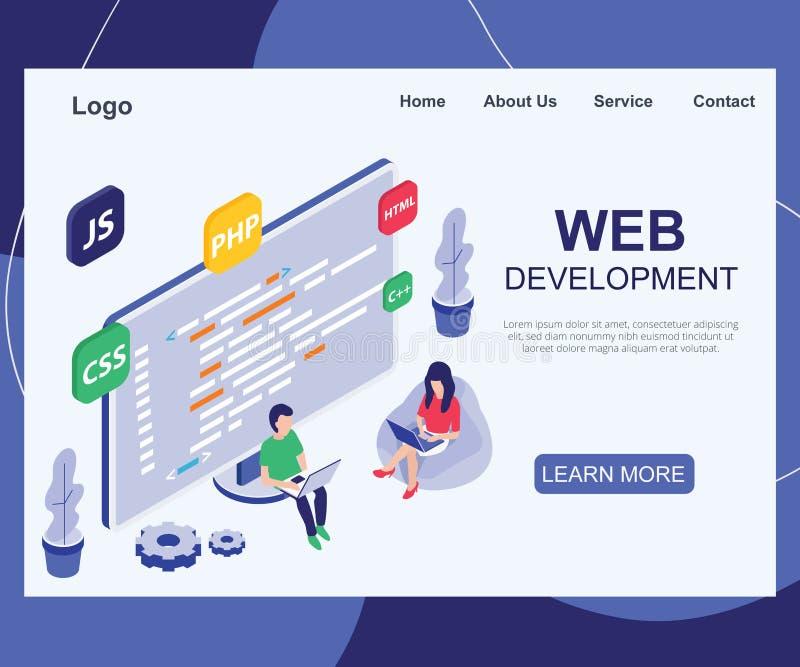 Un equipo de gente que está desarrollando un concepto isométrico de las ilustraciones de la página web libre illustration