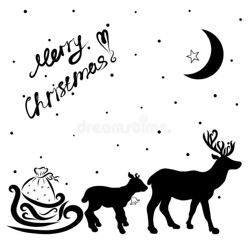 Un equipo del reno y del trineo Santa Claus con los regalos ilustración del vector