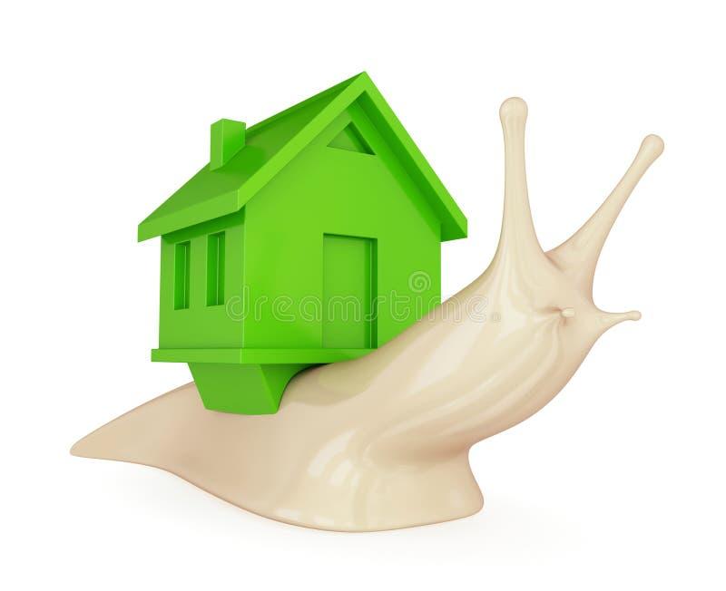 Un escargot avec une maison verte sur elle en arrière. illustration stock