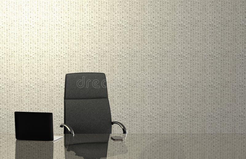Un escritorio de oficina vacío con el ordenador portátil y el teléfono elegante fotografía de archivo