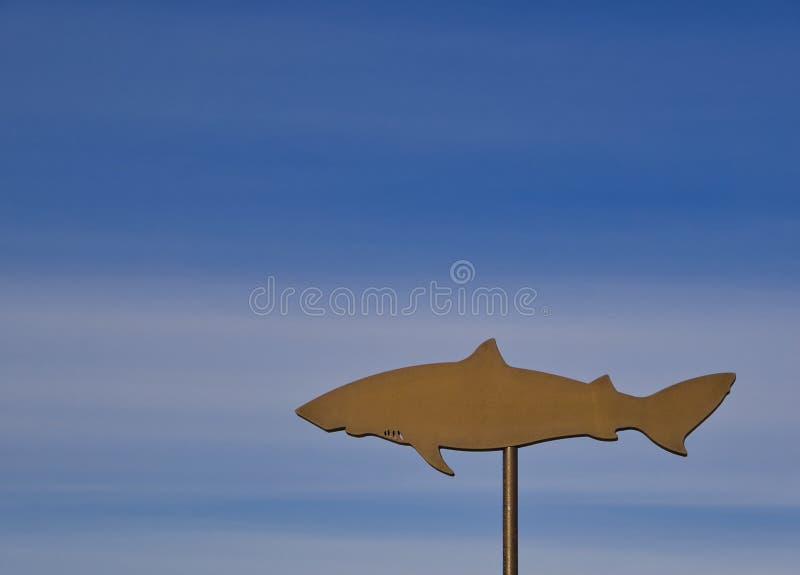 Un escudo del hierro de un tiburón en un polo imagenes de archivo