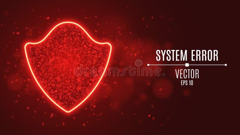Un escudo rojo que brilla intensamente de símbolos programados Error de sistema Escudo de neón de alta tecnología Protección fuer ilustración del vector