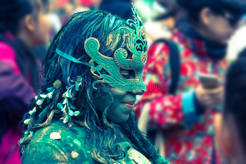 Un esecutore al festival della frangia a Edimburgo, 2015, Scozia fotografie stock libere da diritti