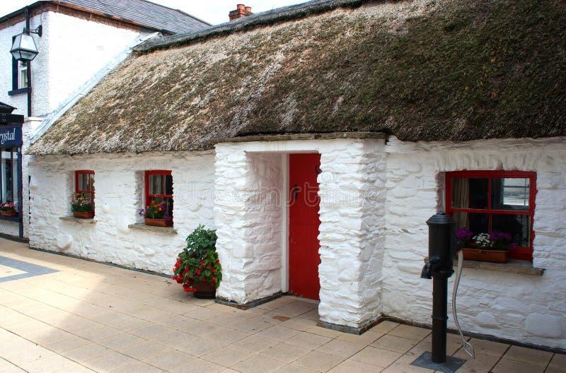 Un esempio eccellente di un cottage irlandese conservato con il tetto ricoperto di paglia superbo a Londonderry Irlanda fotografia stock libera da diritti