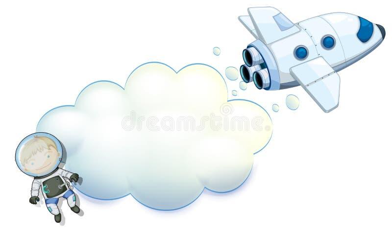 Un espace vide avec un robot et un vaisseau spatial illustration de vecteur