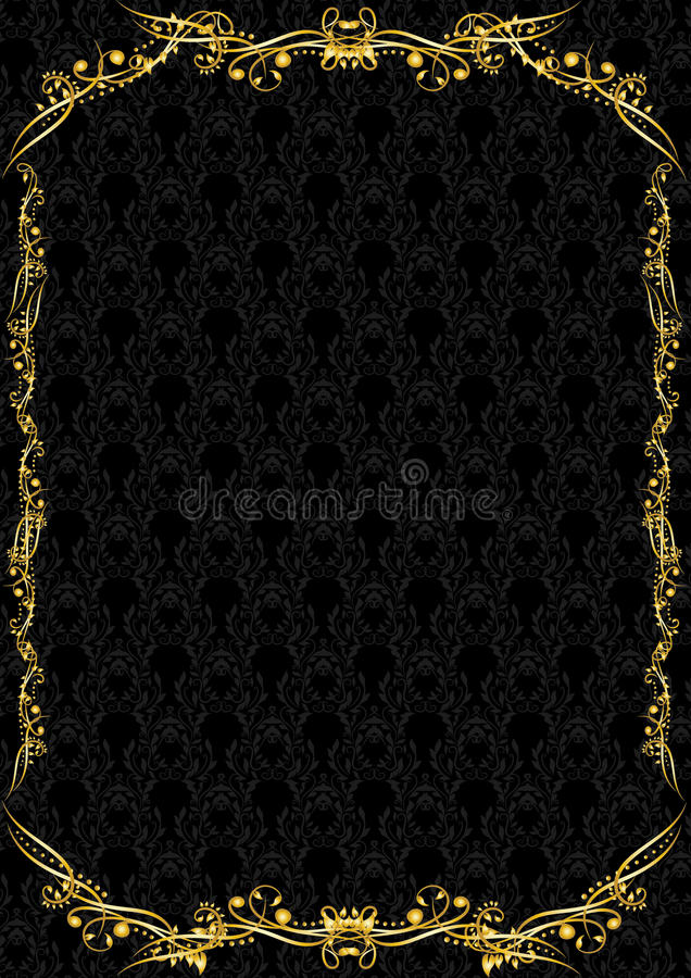Un espacio en blanco negro y de oro de lujo ilustración del vector