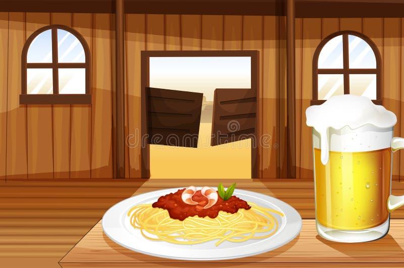 Un espagueti y un vidrio de cerveza dentro de la barra de salón ilustración del vector