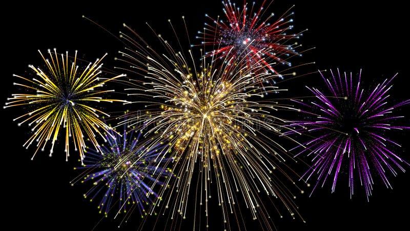 Un'esplosione di cinque fuochi d'artificio alla notte immagini stock