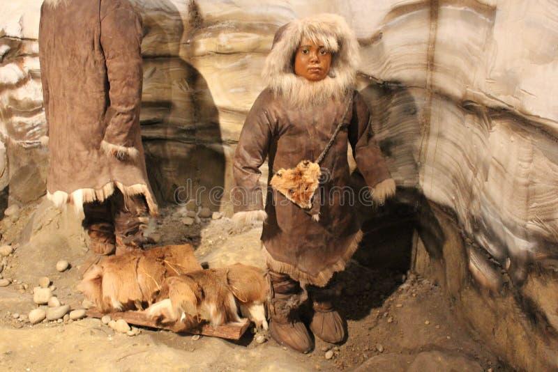 Un'esposizione della mostra dell'era glaciale Ohio Valley al museo antico forte fotografia stock libera da diritti