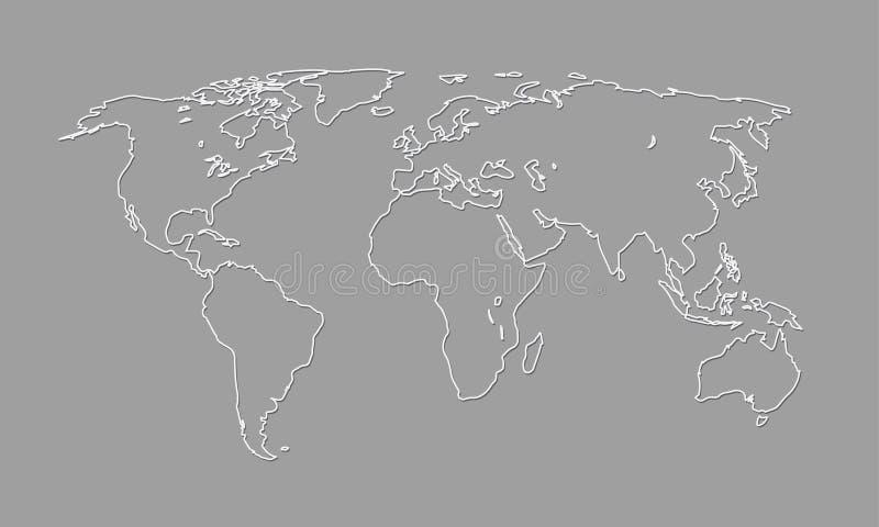 Un esquema blanco y negro fresco y simple del mapa del mundo de los países diferentes y de los continentes ilustración del vector