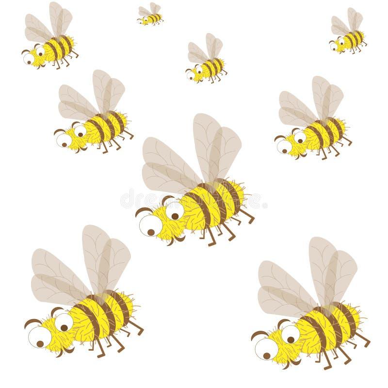 Un essaim des insectes d'ensemble d'abeilles illustration libre de droits