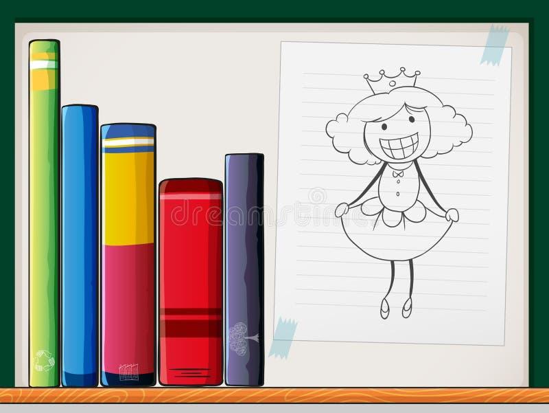 Un estante con libros y un papel con una reina ilustración del vector