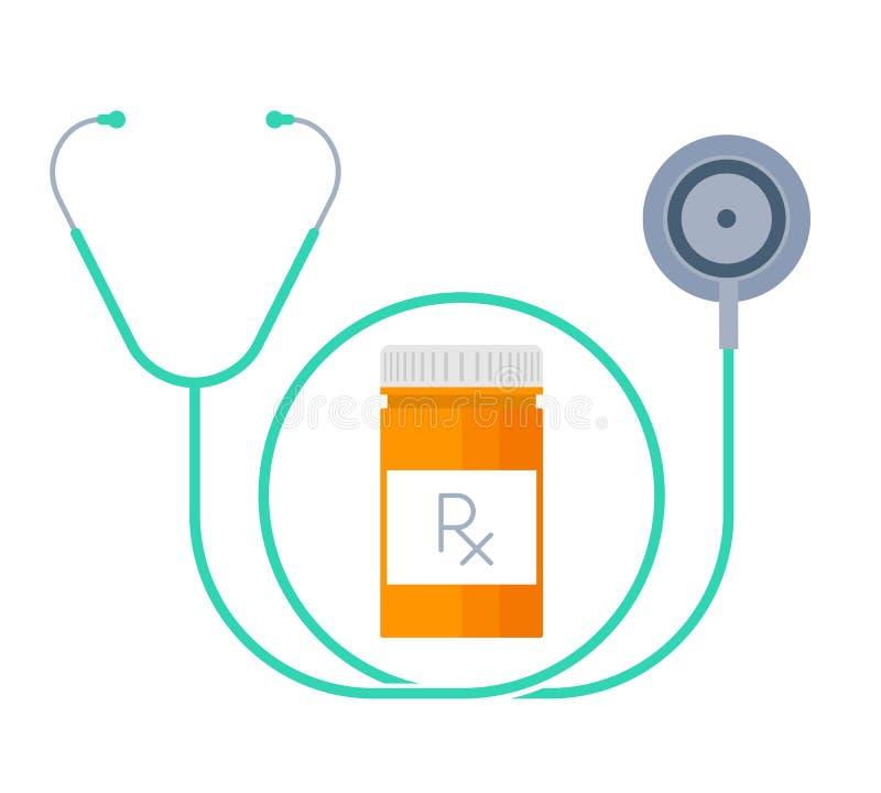 Un estetoscopio y un envase con las drogas Concepto plano de la medicina stock de ilustración
