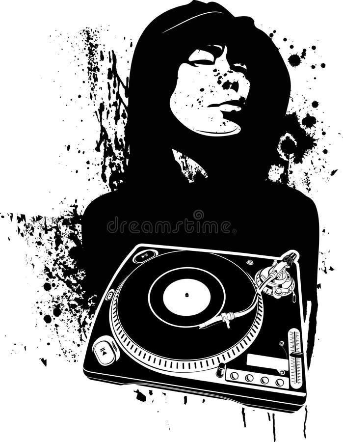 Un estilo moderno de la pintada de DJ del color. stock de ilustración