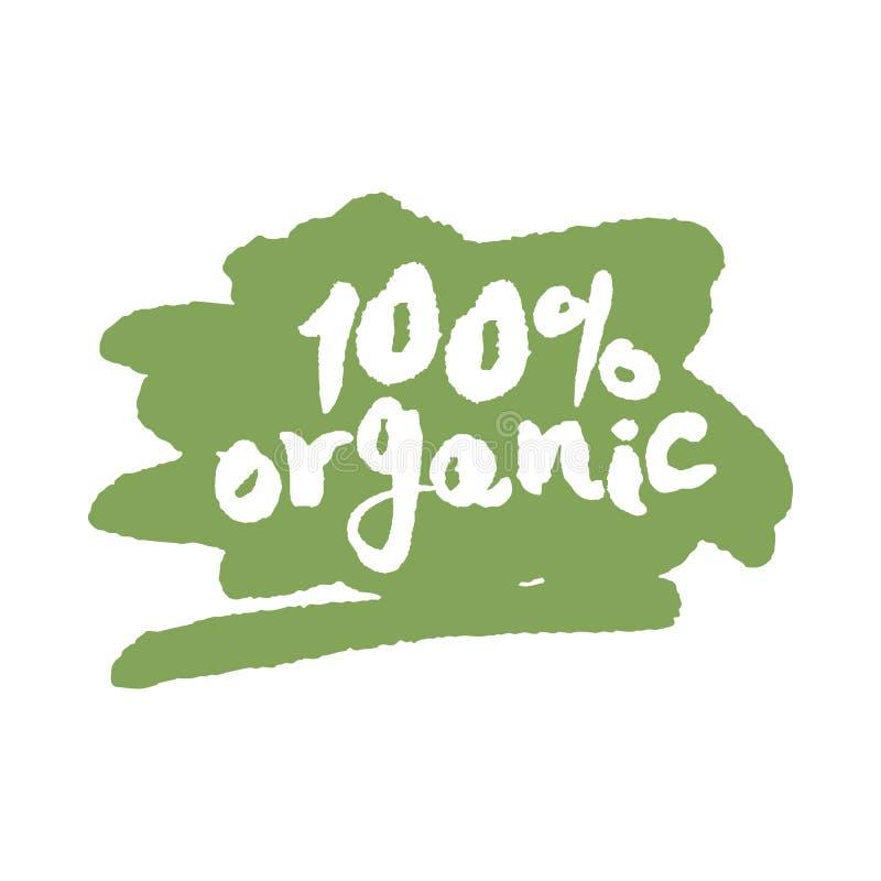 Un'etichetta organica di cento per cento su uno scarabocchio royalty illustrazione gratis