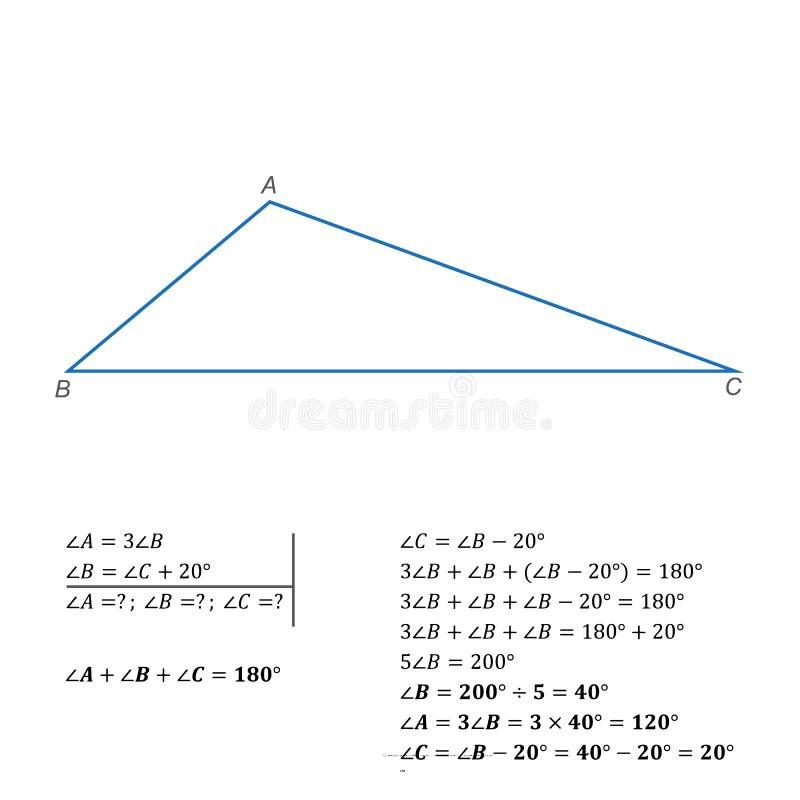 Un exemple de résoudre une équation avec une somme variable des angles internes d'une triangle illustration stock