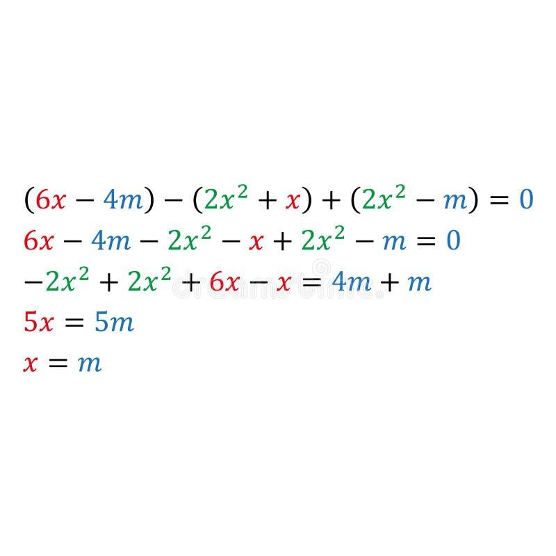Un exemple de résoudre une équation paramétrique algébrique avec une variable Les nombres positifs et négatifs sont à angle droit illustration libre de droits