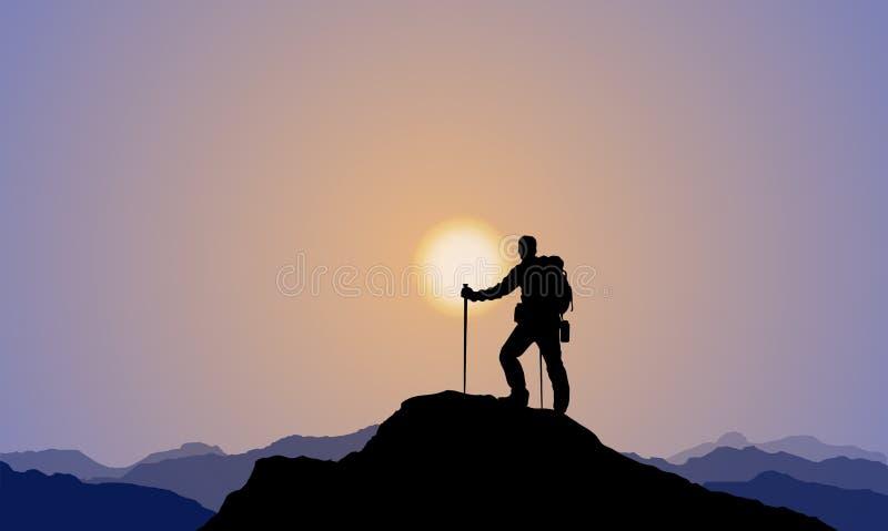 Un explorador Climbing The Mountain, alpinismo, puesta del sol stock de ilustración