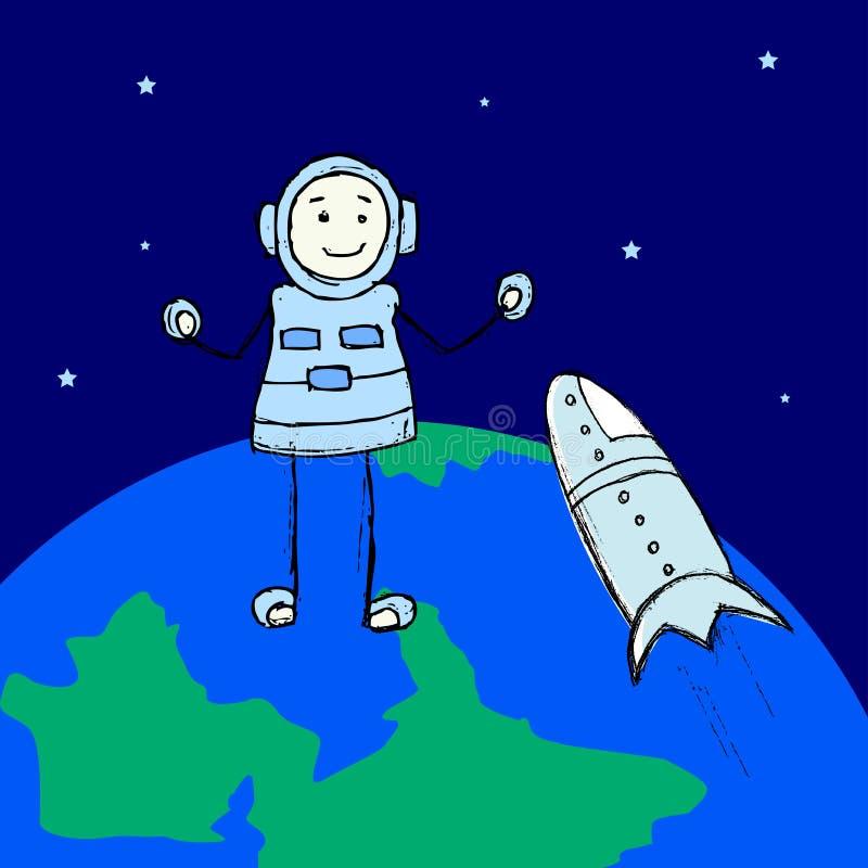 Un explorador y un astronauta del hombre es espacio que caminan sobre la tierra en espacio exterior Escena agradable de la explor stock de ilustración