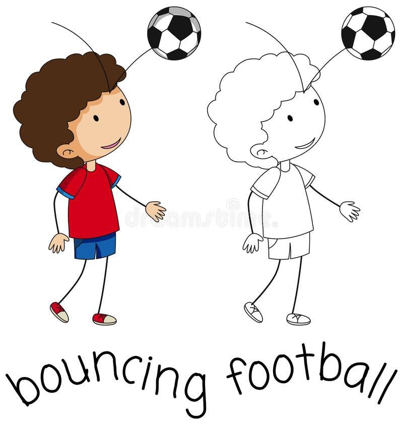 Un fútbol que despide del muchacho del garabato stock de ilustración