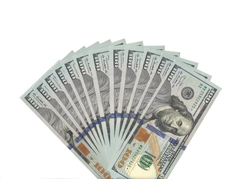 Un fan di cento dollari reali di banconote fotografia stock libera da diritti