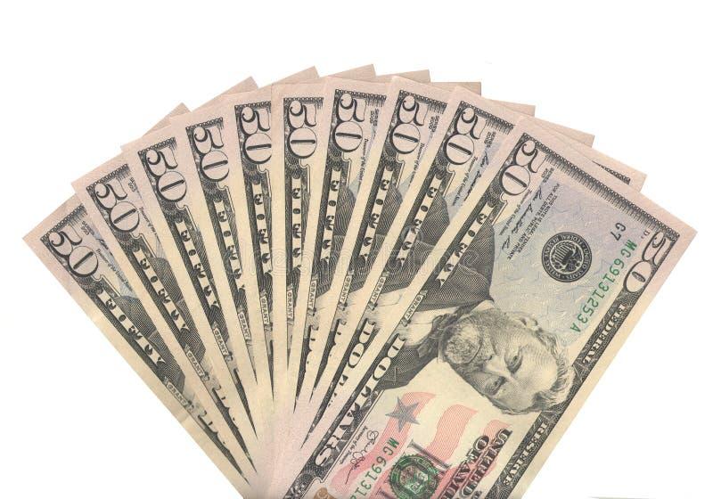 Un fan di cinquanta dollari reali di banconote fotografia stock libera da diritti