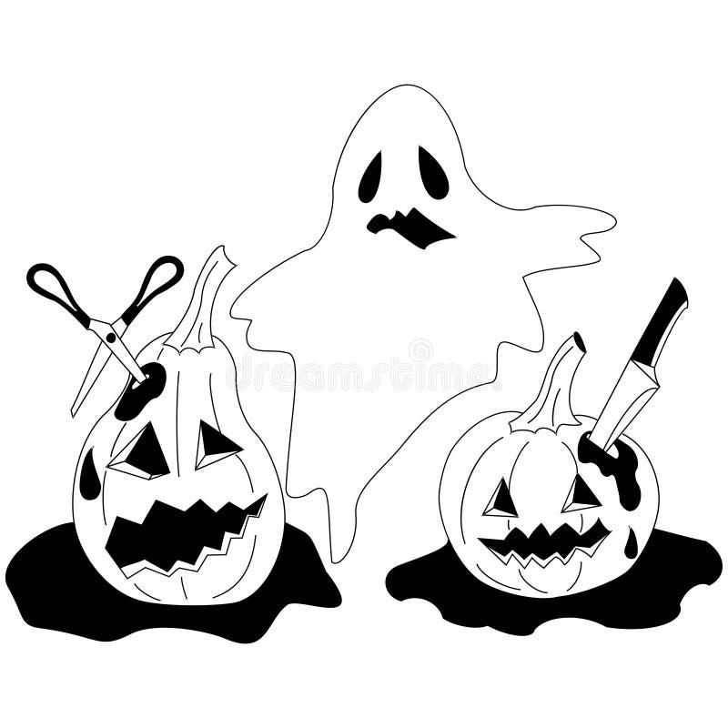 Un fantasma con due adorabili e zucche terribili nel sangue fotografia stock