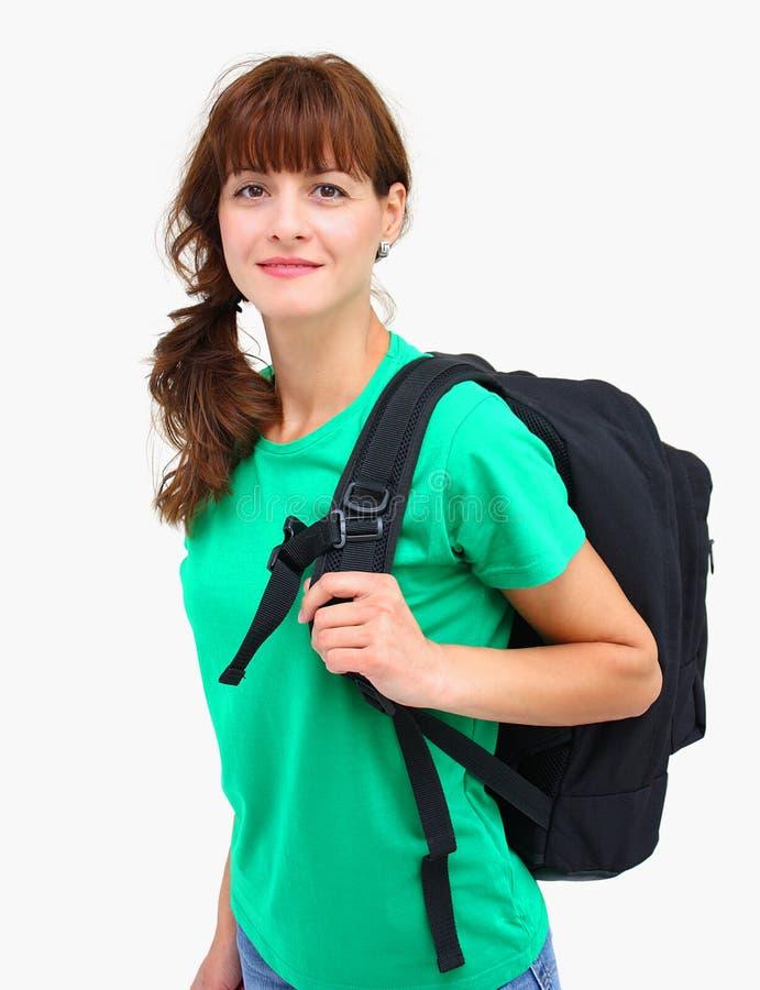 Un femme avec le sac à dos photos stock