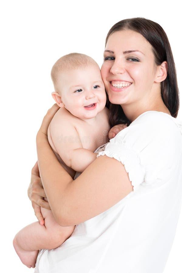 Un femme avec une ch?ri Mères de sourire avec le nourrisson images libres de droits