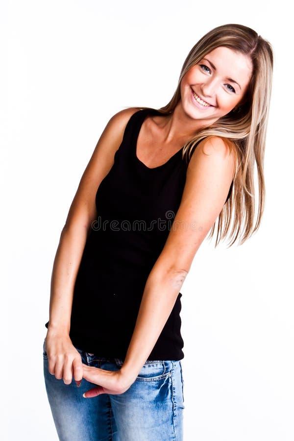 Un femme dans un T-shirt noir images stock